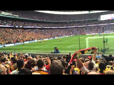 Fans Celebrating Theo Walcott's Goal Inside Wembley [Gooner Cam]