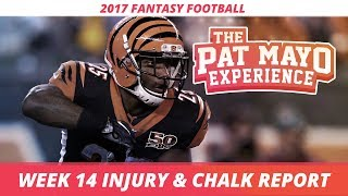 2017 Fantasy Football - Week 14 NFL Injury Report & DraftKings Milly Maker Chalk Picks and Pivots