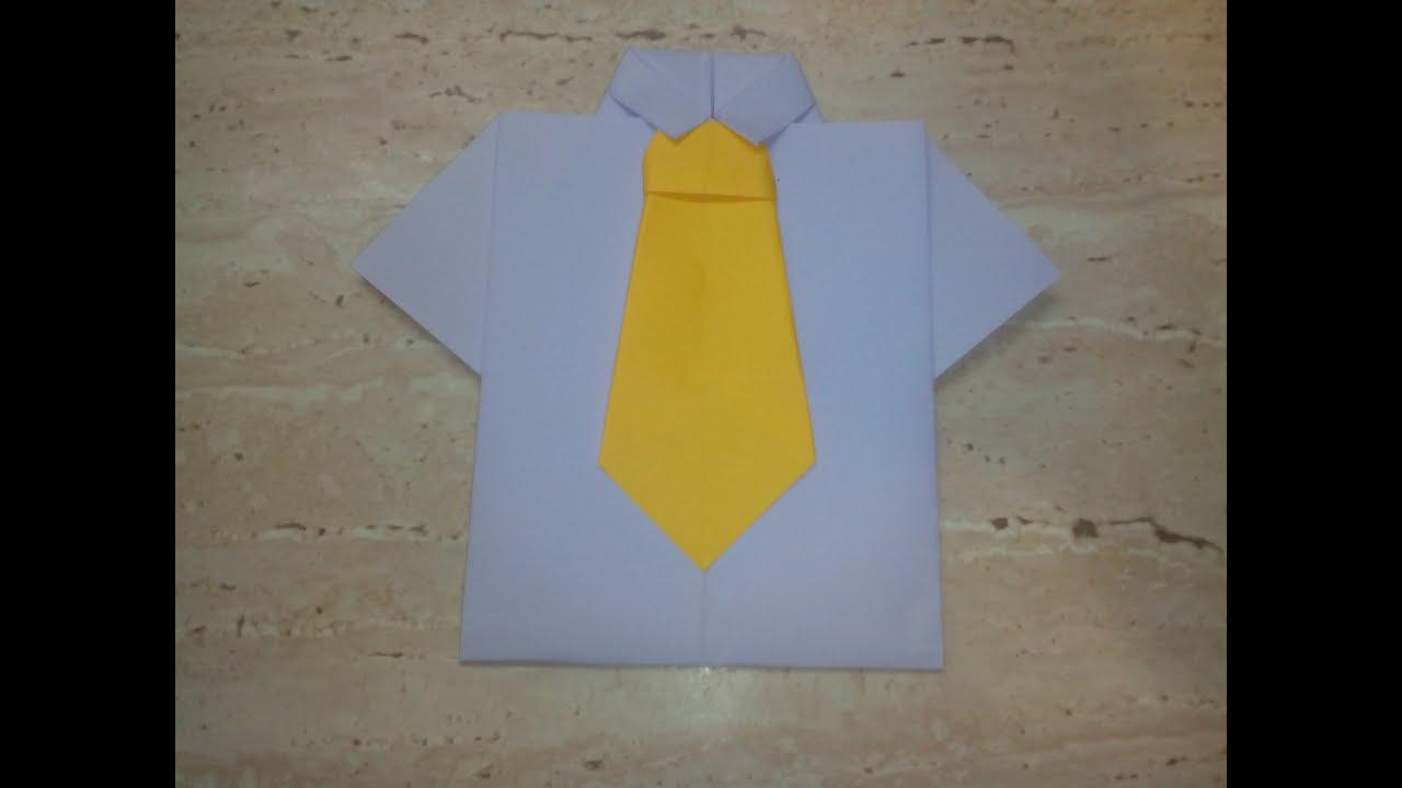 Как сделать рубашка из бумаги с галстуком