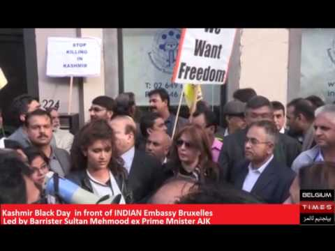 Rohi BANO France at Kashmir Black Day in front of INDIAN Embassy Bruxelles