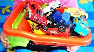 Colors for Children to Learn with Toy Super Cars with Color Water Slides for Kids, Vehicle Parking