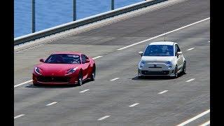 Ferrari 812 Superfast vs Fiat 500 Abarth Monser - TOP SPEED BATTLE