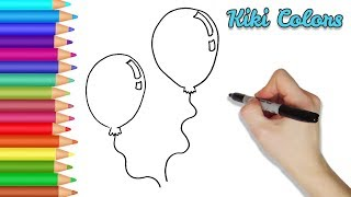 How to Draw Party Balloons Part 1 | Teach Drawing for Kids and Toddlers Coloring Page Video