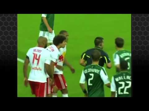 Thierry Henry (New York Red Bulls) is shown the red card for violent conduct against Portland's Adam Moffat. For MLS action visit http://www.mlssoccer.com.