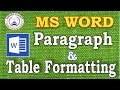 MS Word-Paragraph & Table Formatting in Hindi  Formatting Tricks in Word