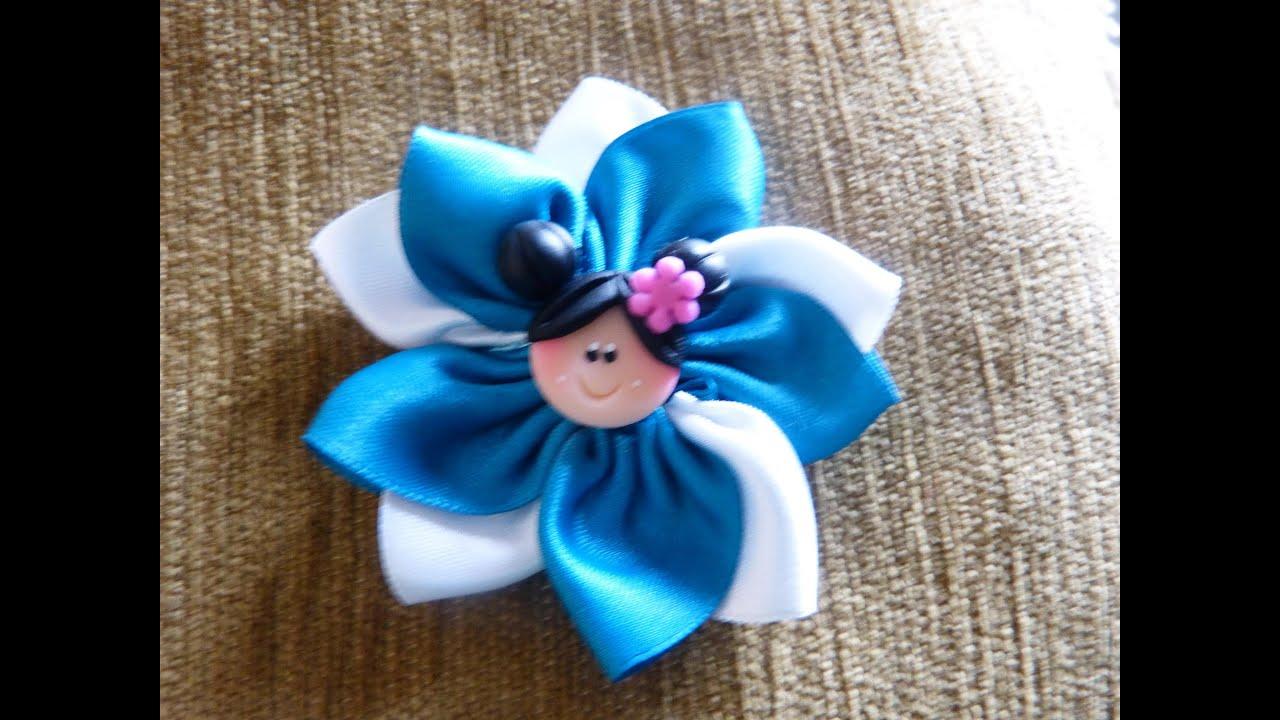 Tutorial flores combinadas en cinta raso para el cabello - Manualidades con lazos ...