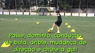 Circuito técnico de futebol - Aprimoramento de vários fundamentos em três exercícios.