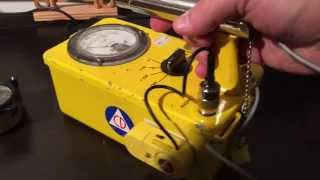 CDV-700 Geiger Counter detecting radioactive WWII aircraft gauge