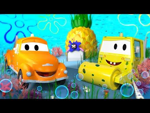 Стив ГУБКА БОБ - Малярная Мастерская Тома в Автомобильный Город 🎨 детский мультфильм