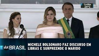 Michele Bolsonaro faz discurso em libras e surpreende o marido | SBT Brasil (01/01/19)