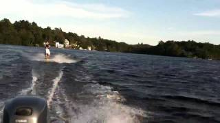 Alex wakeboards in Lake Chebacco