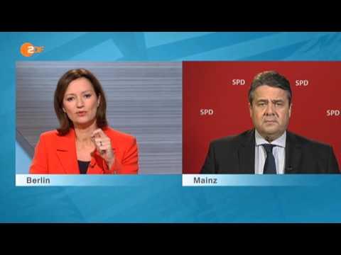 Sigmar Gabriel (SPD) reagiert gereizt auf Fragen von Bettina Schausten