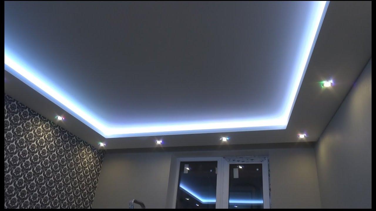 Двухуровневые потолки из гипсокартона с подсветкой своими руками фото 15