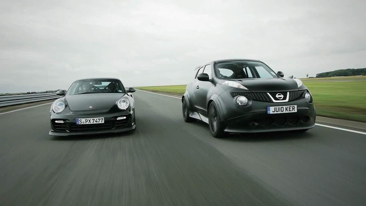 showdown nissan juke r vs porsche 911 gt2 rs car and driver youtube. Black Bedroom Furniture Sets. Home Design Ideas