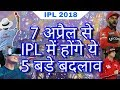 IPL 2018 : List of 5 New Rules & Changes In IPL From 7 April 2018 | IPL 11 Rules MP3