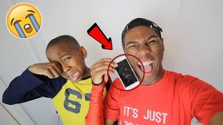 I smashed my little brothers iPhone 7.. **PRANK!** (Backfires)