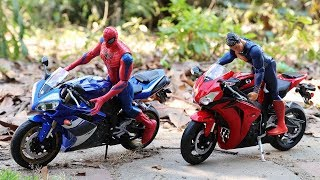 Spiderman & Superman Ride a Motorcycle Toys | Truck | Cement mixer truck | Excavator