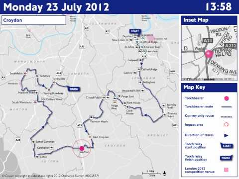 ROADS: Monday 23 July - Olympic Torch Relay