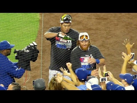 Hyun-jin Ryu & Justin Turner Celebrate Tonight 9-24-14