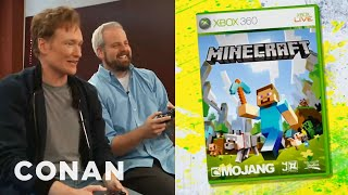 Conan O'Brien Reviews Minecraft for XBox 360 - Clueless Gamer  - CONAN on TBS