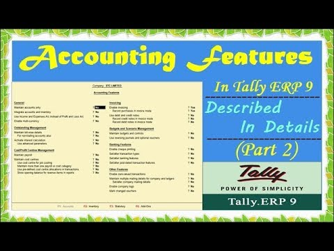 Accounting Features In Tally ERP 9 - Step By Step Tally Features In Hindi - Enable Feature (PART 2)