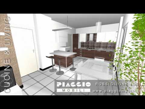 Arredamento 3d Open Space Cucina e living Piaggio Mobili.wmv