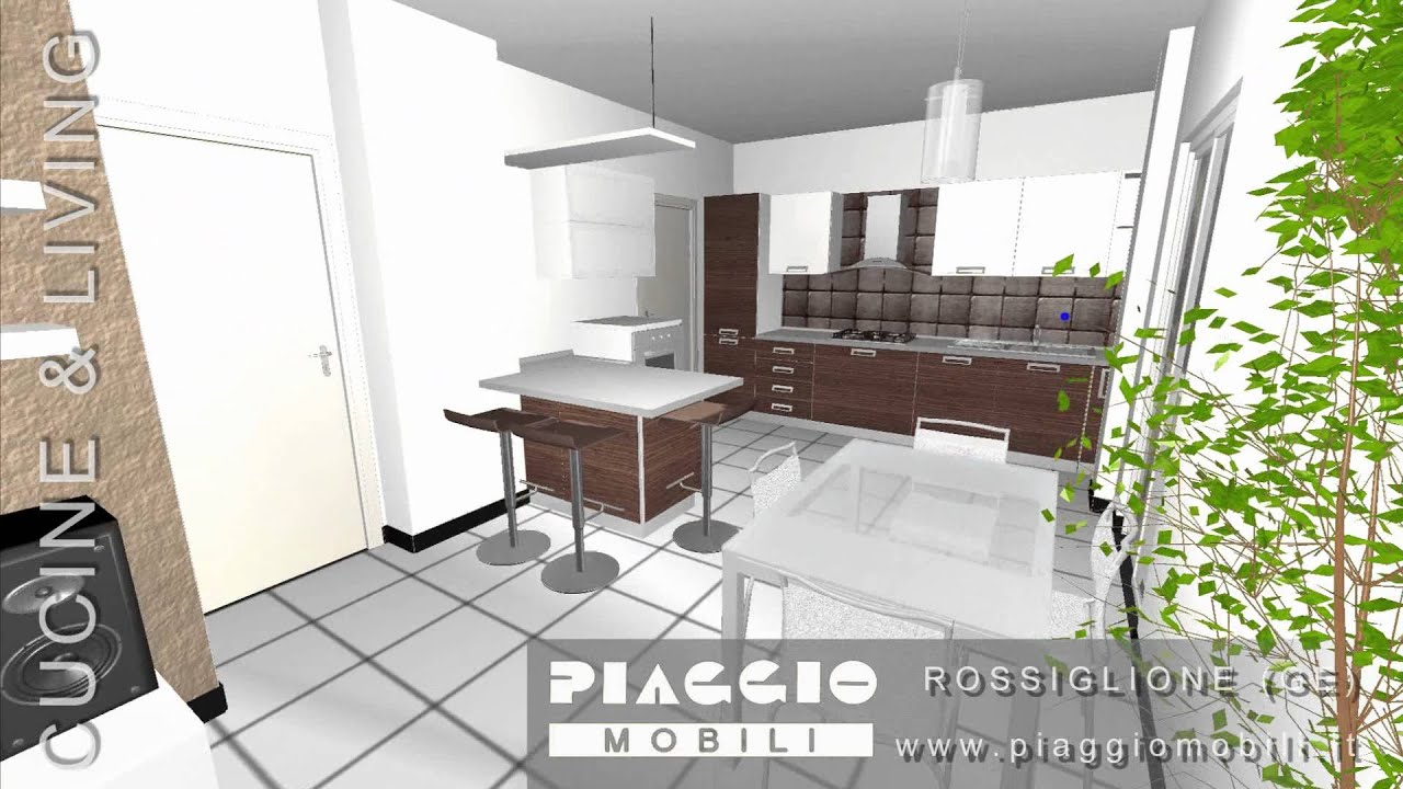Arredamento 3d open space cucina e living piaggio youtube - Salone e cucina open space ...