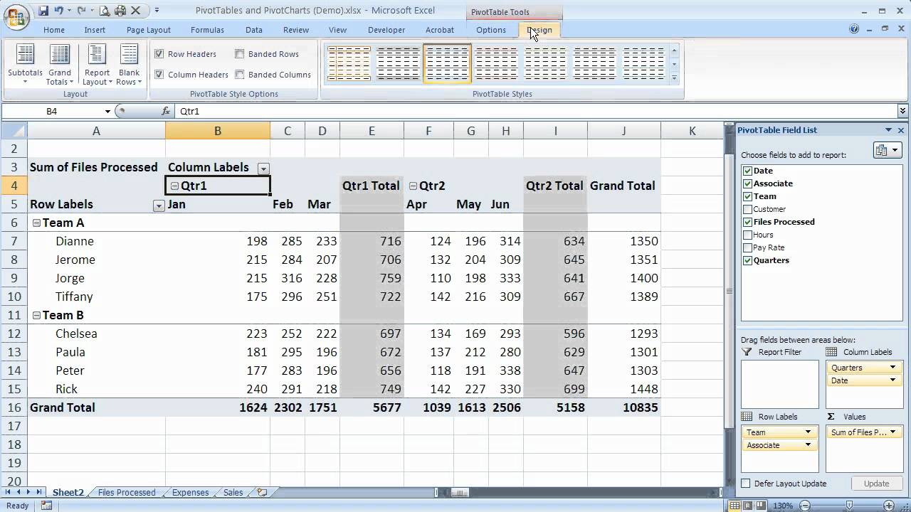 how to use subtotals and grand totals in excel 2007 pivottables  excel 07-105