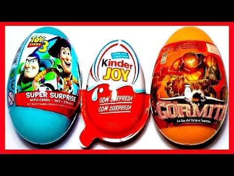 3 HUEVOS SORPRESA. KINDER MONSTER UNIVERSITY. TOY STORY 3. GORMITI. COLECCIÓN 2013. KINDER SURPRISE
