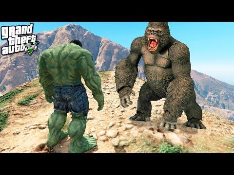 GTA 5 моды: Кинг Конг против Халка в GTA 5 - Жесткая битва