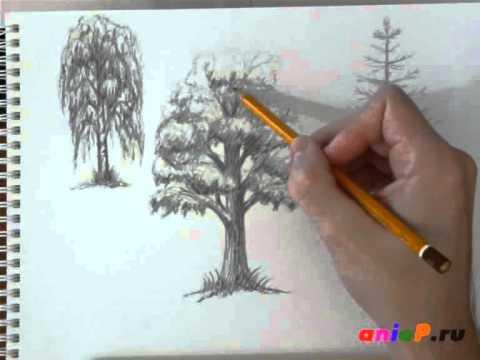 Как рисовать дерево пейзаж