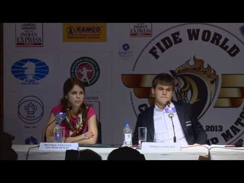 Game 10 - Post Match Press Conference with Viswanathan Anand and Magnus Carlsen
