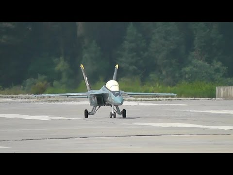 RC Jet F-18 Hornet Gas Turbine Jet - Flight and Crash Landing