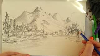 Karakalem manzara resmi / Nasıl çizilir? / How to drawing landscape picture?