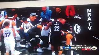 Ben Simmons shoves into Jared Dudley and Jimmy gets Ejected