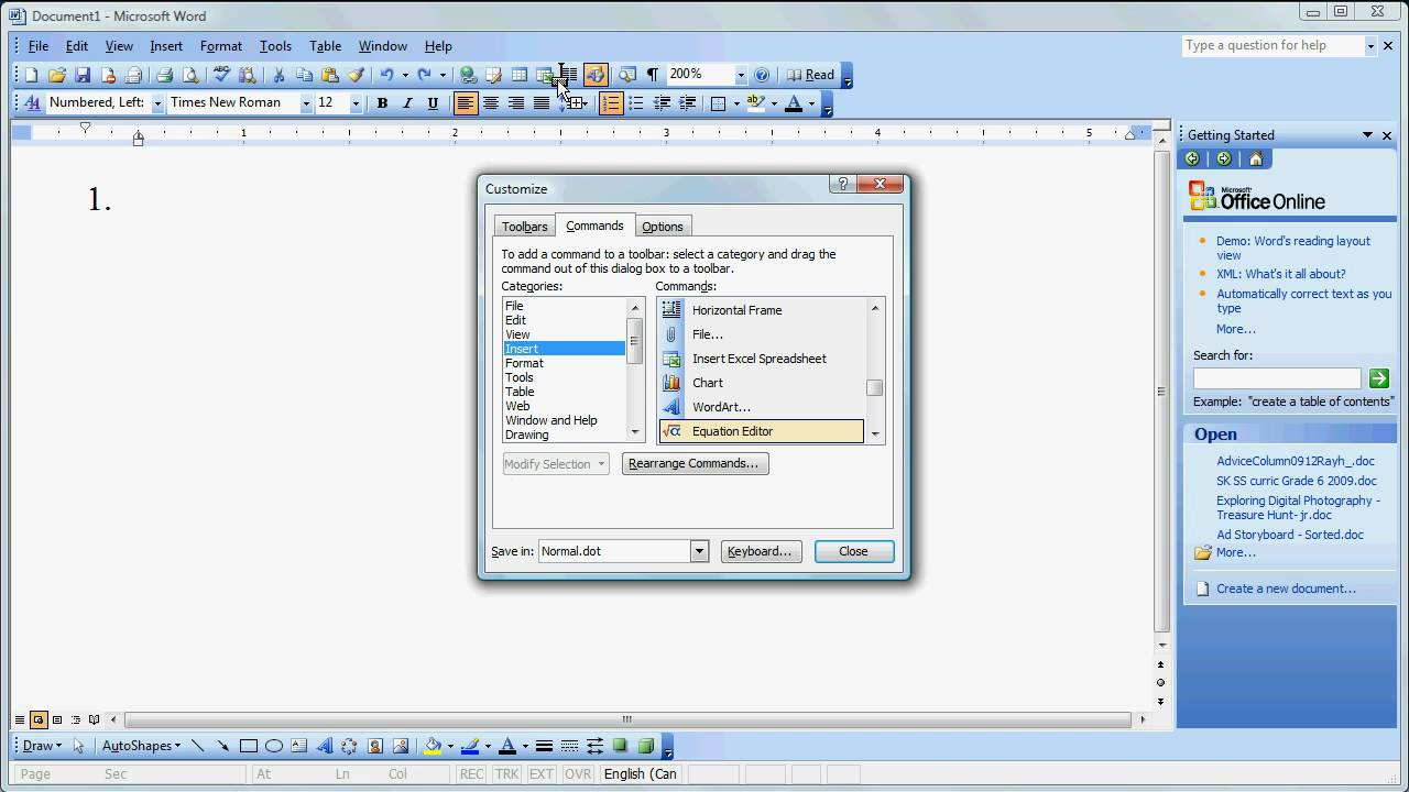 using the equation editor in ms word 2003