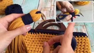 Вяжем СУМКУ из ТРИКОТАЖНОЙ ПРЯЖИ. ЧАСТЬ 2: Стенки сумочки и ДЕКОР