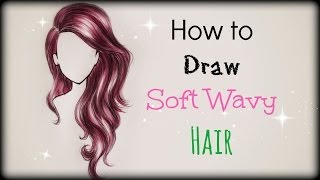 Drawing Tutorial ❤ How to draw and color Soft Wavy Hair (front view)