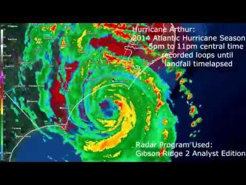 GR2Analyst Hurricane Arthur Radar Loop 7-3-2014 5pm-11pm central time Landfall