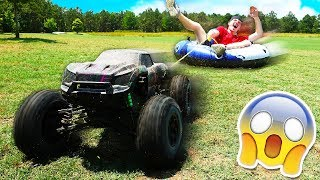 100MPH RC CAR TOWING MYSELF! *GONE WRONG*