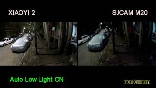 XIAOYI 2 VS SJCAM M20 Low Light Performance Comparison
