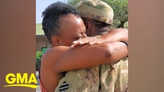 Soldier home from Afghanistan deployment surprises his mom on trolley bus she drives l GMA Digital