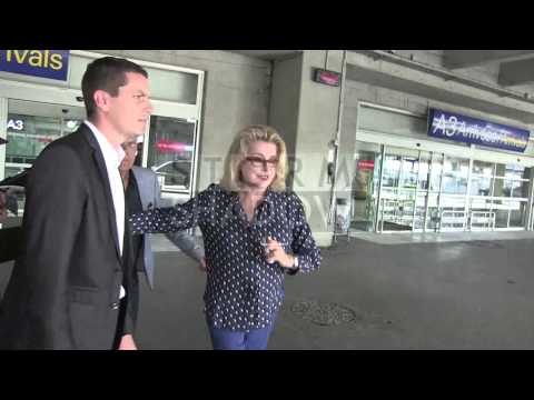 EXCLUSIVE: Catherine Deneuve arriving at Cannes airport for the 2014 Cannes Film Festival