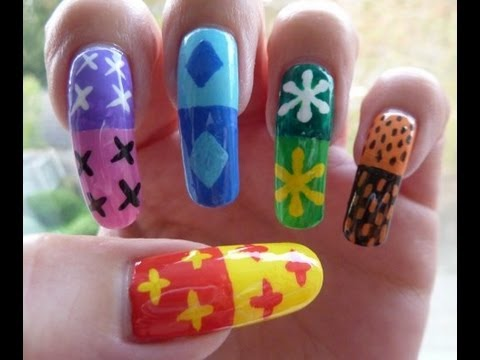 Mary Blair Google Inspired Rainbow Abstract Acrylic Paint Nail Art Design HD Video