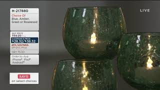 Set of 3 Crackle Glass Goblets with Tealights by Valerie on QVC