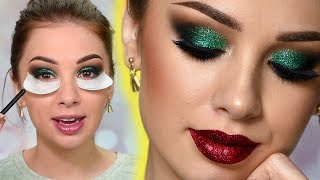 Sparkly Christmas Makeup Tutorial | Green Glitter Smokey Eye
