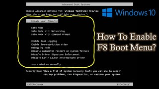 Enable F8 Boot Menu in Windows 10 / Windows 8.1 / 8