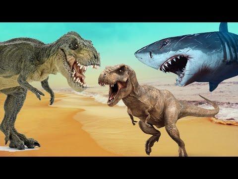 ХИЩНЫЕ ДИНОЗАВРЫ и АКУЛЫ. Мультики про динозавров для детей на русском языке