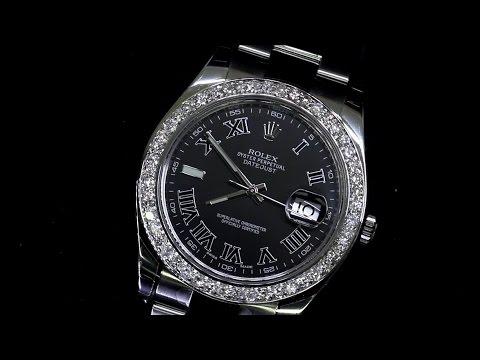 Men's Rolex Datejust II Black Self-Winding Watch Extra Diamond Bezel 116300