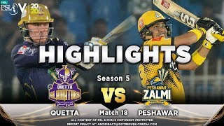 Peshawar Zalmi vs Quetta Gladiators | Full Match Highlights | Match 18 | 5 March | HBL PSL 2020